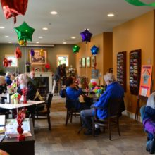 The whole Senior Center was festooned with balloons and decorations.