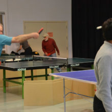 The competitive juices were flowing during Table Tennis.