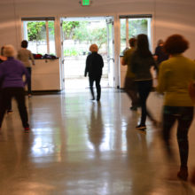 Michiko Sackett led line dancing, a regular Monday drop-in event.